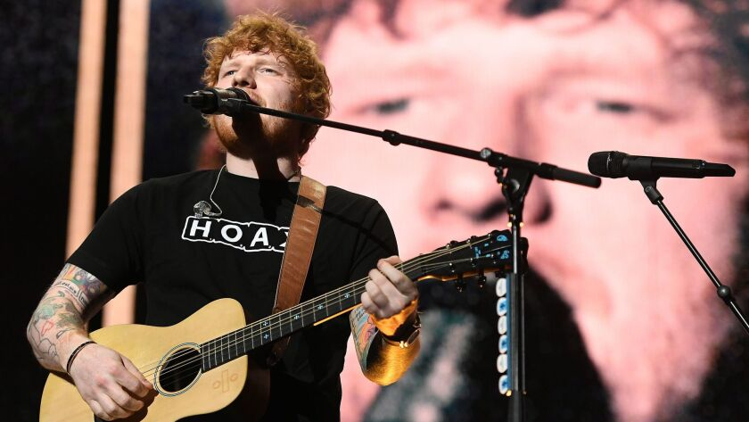 LOS ANGELES, CALIFORNIA AUGUST 10, 2017-Ed Sheeran performs in concert at the Staples Center Thursda