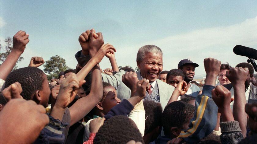 Nelson Mandela in South Africa in 1992.