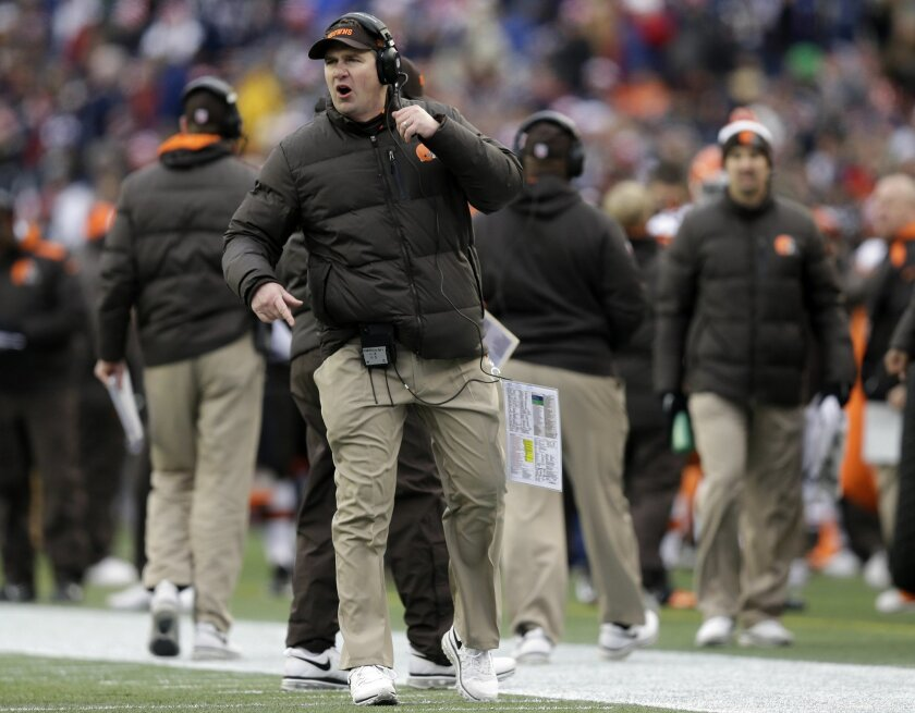 Cleveland Browns head coach Rob Chudzinski shouts instructions in the second quarter of an NFL football game against the New England Patriots, Sunday, Dec. 8, 2013, in Foxborough, Mass. (AP Photo/Steven Senne)