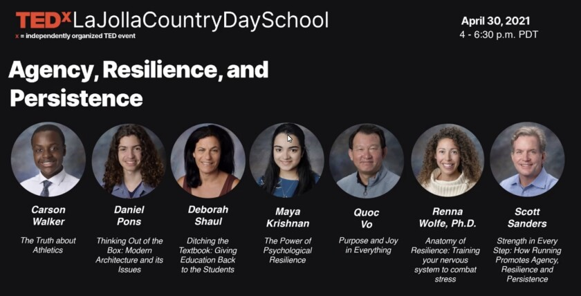 Seven speakers took the virtual stage for La Jolla Country Day School's inaugural TEDx event.