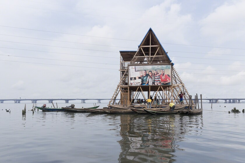 An exhibition at the Annenberg Space for Photography documents the ways in which humans are reacting to climate change. Seen here: The Makoko Floating School, by NLÉ architects in Lagos, Nigeria.