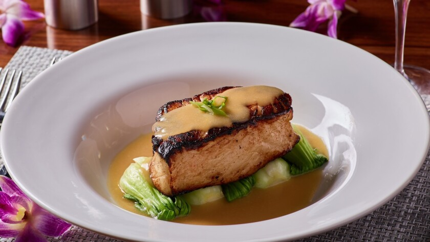 Miso sea bass is one of the offerings at Redwood Steakhouse, a new restaurant at the California Hote