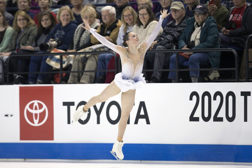 FILE - In this Jan. 24, 2020, file photo, Mariah Bell performs her senior women's free skate program at the U.S. Figure Skating Championships, Friday, Jan. 24, 2020, in Greensboro, N.C. When U.S. skaters and a few foreigners training in this country kick off the season at Skate America this weekend, it could be a rare opportunity to display their wares. So they will relish the chance to get on the ice for competition, knowing that two Grand Prix series events and the Grand Prix Final have been canceled due to the coronavirus pandemic, and prospects of national and word championships being held are uncertain.(AP Photo/Lynn Hey, File)