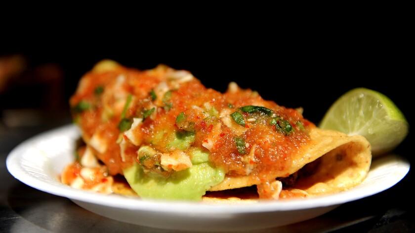 Tacos dorados de camarones from Mariscos Jalisco
