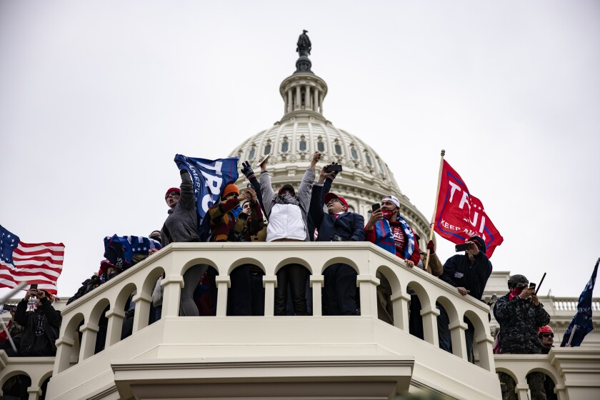 Trump supporters storm the U.S. Capitol following a rally with President Donald Trump on Jan. 6 in Washington, D.C.