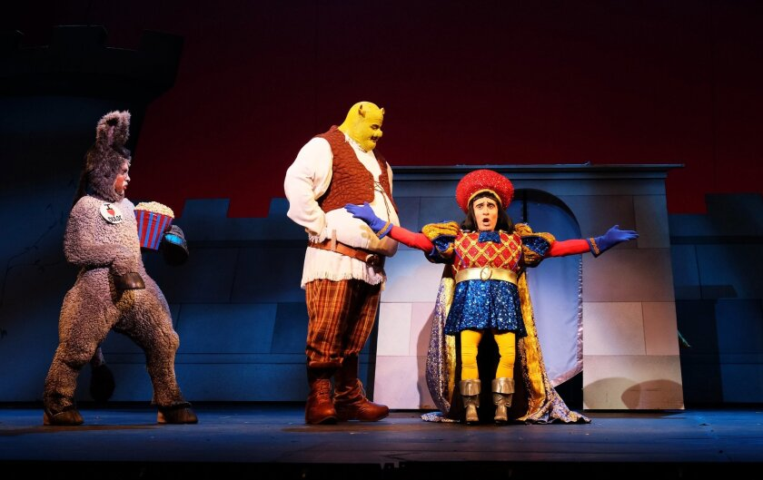 "Cornelius Jones Jr. as Donkey, T.J. Dawson as Shrek and Marc Ginsburg as Lord Farquaad in ""Shrek: The Musical"" at Moonlight Amphitheatre in Vista."