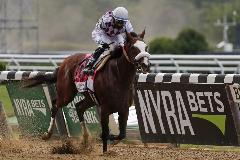 Tiz The Law, with jockey Manny Franco, won the Belmont Stakes.