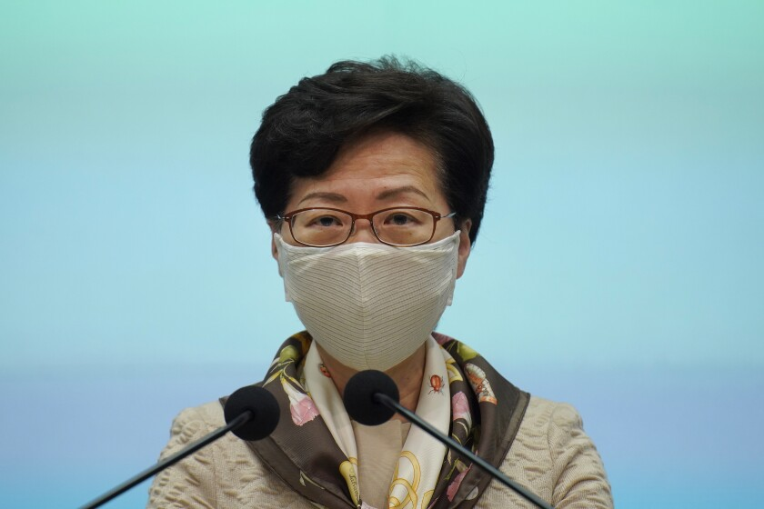 Hong Kong Chief Executive Carrie Lam said the national security law will affect only a small minority.