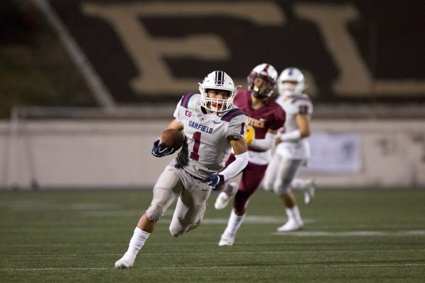 Running back PJ Garcia (1) and Garfield will take on Birmingham in the City Section Open Division quarterfinals on Friday.