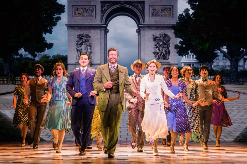 """Stephen Brower, Edward Staudenmayer, Lila Coogan (front, from left) and the national touring company of """"Anastasia."""""""