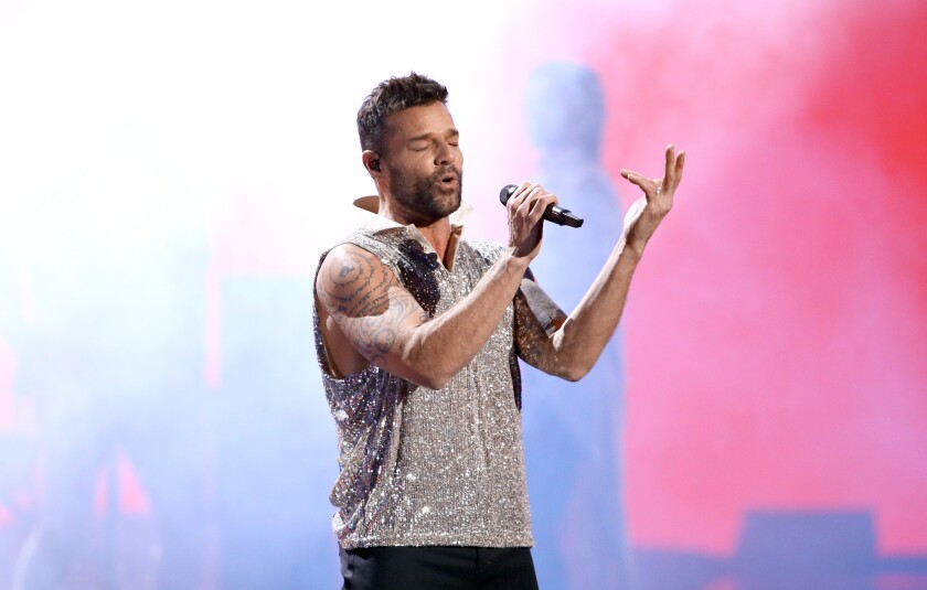 Host Ricky Martin performs during the 20th Latin Grammy Awards at MGM Grand Garden Arena in Las Vegas.