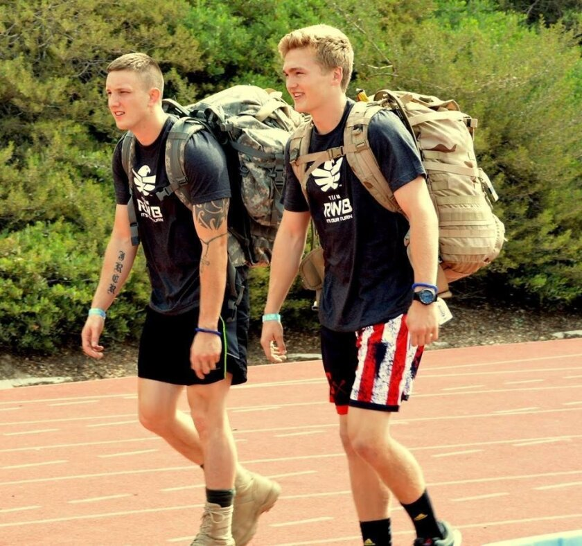 Rancho Bernardo students Ruck for Veterans in 2015.