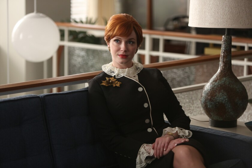 """Christina Hendricks as Joan Harris in a scene from """"Mad Men."""" Hendricks was nominated for an Emmy Award for best supporting actress in a drama series Thursday."""