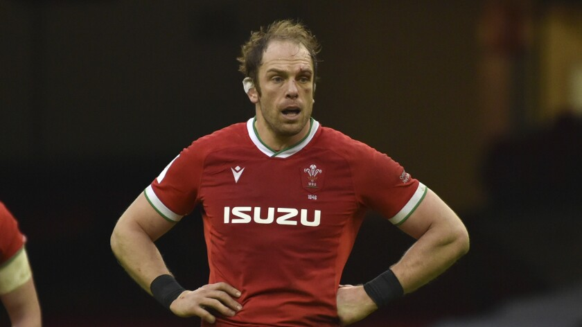 FILE - In this Sunday, Feb. 7, 2021 file photo, Wales' Alun Wyn Jones during the Six Nations rugby union international between Wales and Ireland at the Principality Stadium in Cardiff, Wales. Wales great Alun Wyn Jones was selected on Thursday May 6, 2021, as captain of the British and Irish Lions for the first time for the tour of South Africa. (AP Photo/Rui Vieira, File)