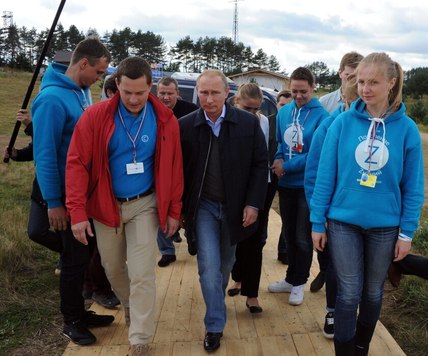 Russian President Vladimir Putin during a visit Friday to the youth educational forum at Lake Seliger, in the Tver region northwest of Moscow.