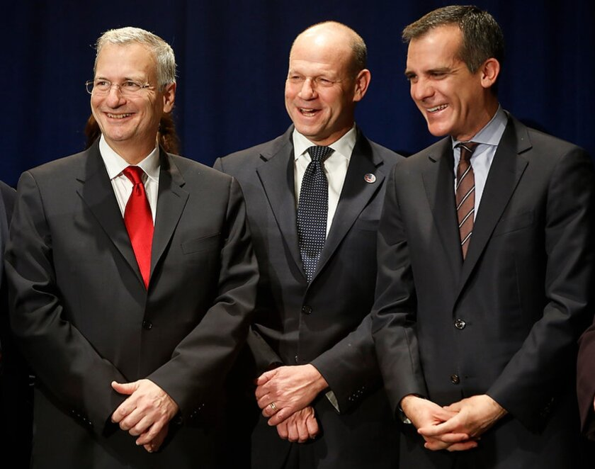 Attending the 7th annual National Immigrant Integration Conference at Los Angeles Convention Center on Monday are, from left, Citigroup executive Bob Annibale, U.S. Citizenship and Immigration Services director Leon Rodriguez and Los Angeles Mayor Eric Garcetti.
