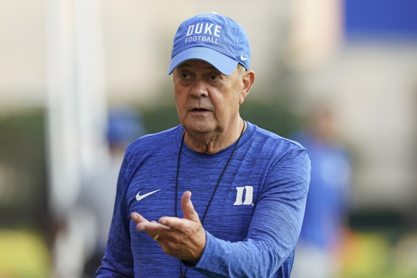 FILE - Duke coach David Cutcliffe is seen during an NCAA college football practice in Durham, N.C., in this Thursday, Aug. 5, 2021, file photo. Cutcliffe and the Blue Devils open the season Friday, Sept 3, 2021 at Charlotte. (AP Photo/Gerry Broome, File)