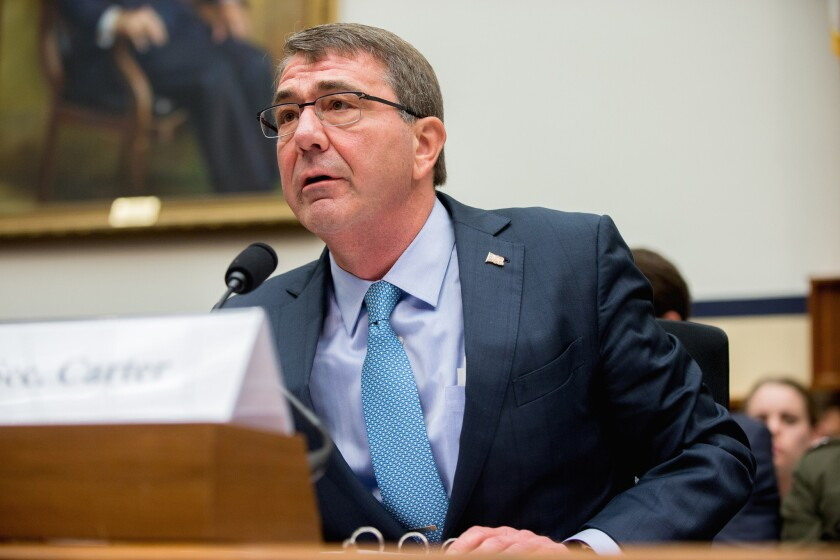 Defense Secretary Ashton Carter testifies on Tuesday before the House Armed Services Committee hearing on the U.S. strategy for Syria and Iraq.