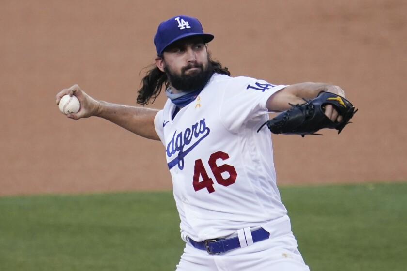 Dodgers starter Tony Gonsolin pitches during the first inning against Colorado on Sept. 5, 2020.