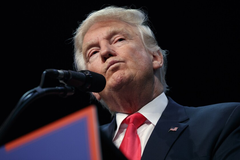 El candidato presidencial republicano Donald Trump habla en un acto de campaña en Daytona Beach, Florida, 3 de agosto de 2016. (AP Foto/Evan Vucci)