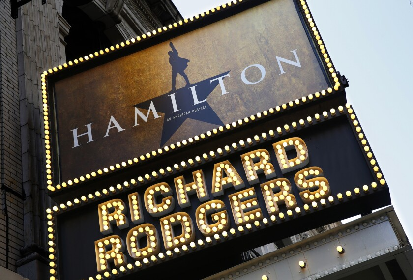 """The marquee for the Broadway musical """"Hamilton"""" at the Richard Rodgers Theatre in New York City."""