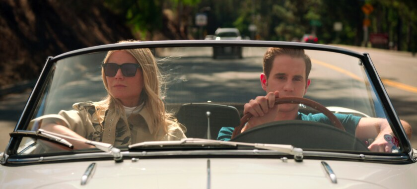"Gwyneth Paltrow and Ben Platt in a convertible with the top down in ""The Politician."""