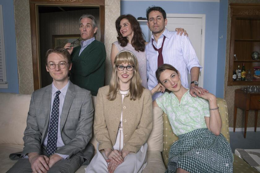 The cast for 'How The Other Half Loves' includes (front) Benjamin Cole, Noelle Marion, Sharon Rietkerk and (back) James Newcomb, Jacqueline Ritz and Christopher M. Williams. It plays plays April 11-May 6, 2018 at North Coast Repertory Theatre in Solana Beach.