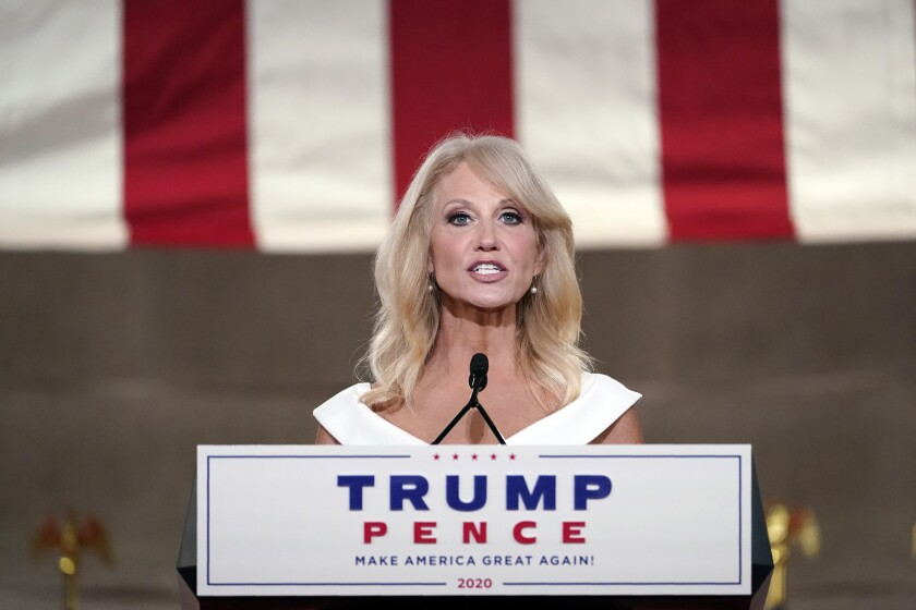 White House senior counselor Kellyanne Conway addresses the Republican National Convention.