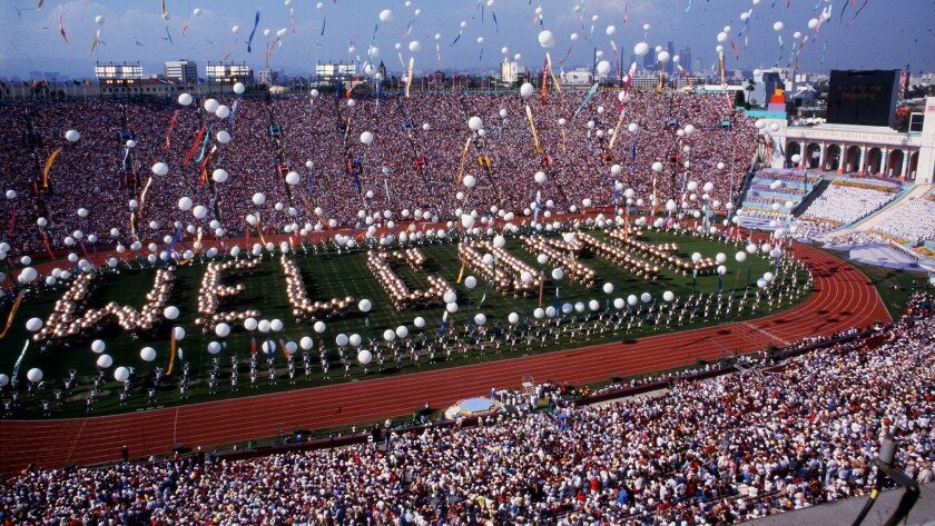 The scene at the Los Angeles Memorial Coliseum during opening ceremonies of the Summer Olympics on J