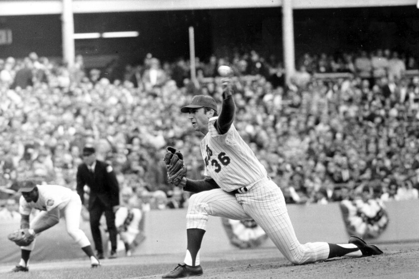 FILE - In this Oct. 16, 1969, file photo shows New York Mets pitcher Jerry Koosman (36) following through on a pitch during Game 5 of the World Series against the Baltimore Orioles at Shea Stadium in New York. Koosman's No. 36 is being retired by the New York Mets, more than four decades after he threw his final pitch for the team. Koosman, whose five-hitter beat Baltimore in Game 5 of the 1969 World Series for the Mets' first title, will be honored before the June 13 game against Washington, the team said Thursday, March 5, 2020. (AP Photo/File)