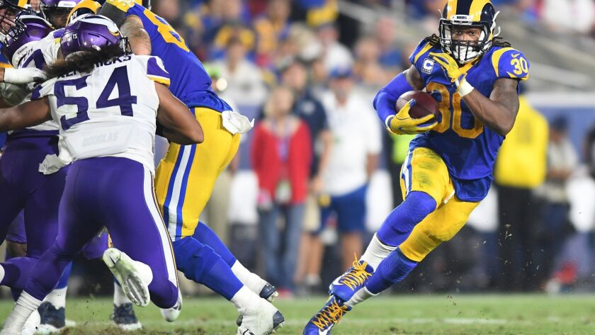 LOS ANGELES, SEPTEMBER 27, 2018-Rams running back Todd Gurley make a cut against the Vikings defense