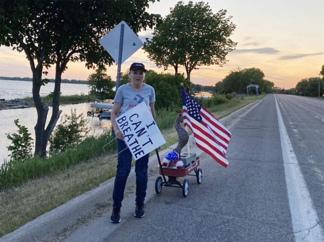 Marcy Ugstad, 65, held a one-woman Black Lives Matter march in Ottertail, Minn.