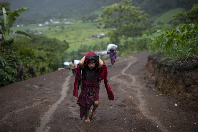 After a heavy rain, a girl hauls wood for cooking, in the makeshift settlement Nuevo Queja, Guatemala, Monday, July 5, 2021. The survivors of a mudslide triggered by Hurricane Eta, burying their Guatemalan town Queja in November 2020, were left destitute and displaced in the desperately shabby settlement. (AP Photo/Rodrigo Abd)