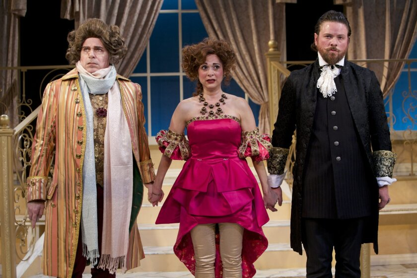 """Phil Johnson, Jessica John Gercke and Richard Baird (left to right) in North Coast Rep's """"The School for Lies."""""""