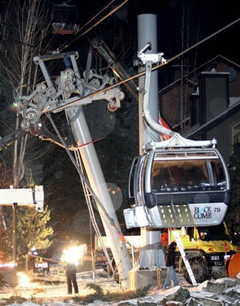 Crews work at the scene after a gondola support tower partially collapsed at Blackcomb Mountain in Whistler, British Columbia, Canada, on Tuesday, Dec. 16, 2008. No serious injuries were reported. The resort will play host to the alpine events at the 2010 Winter Games on Whistler mountain, not Blackcomb where the accident occurred. (AP Photo/The Canadian Press, Darryl Dyck)