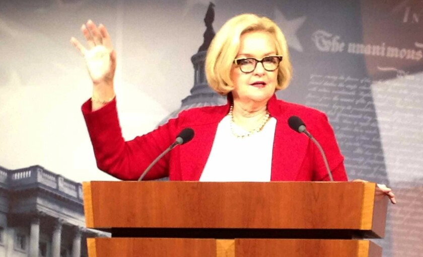 Sen. Claire McCaskill (D-Mo.) speaks on Wednesday in Washington, D.C., about a survey she conducted of colleges and universities and how they handle sexual assault cases.