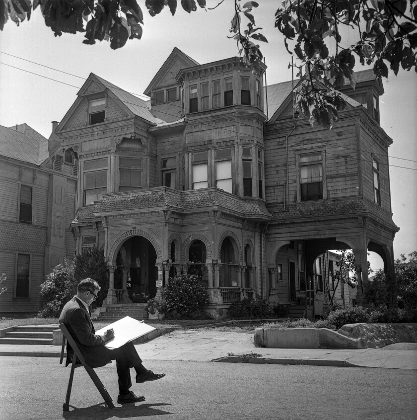 May 17, 1964: RELIC TO STAY-Artist Leo Politi sketches by The Castle at 325 Bunker Hill Ave., design