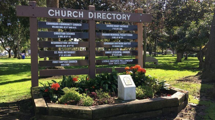 Coronado's church directory, on the corner of Orange Avenue and Sixth Street.