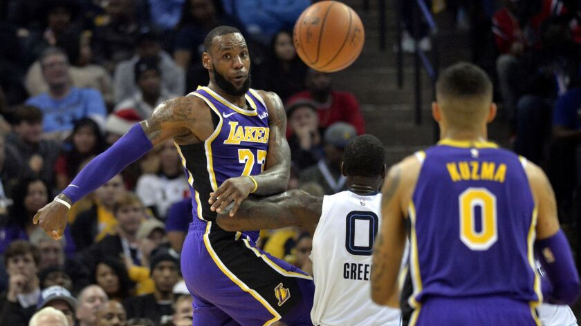 Los Angeles Lakers forward LeBron James (23) passes the ball against Memphis Grizzlies forward JaMyc
