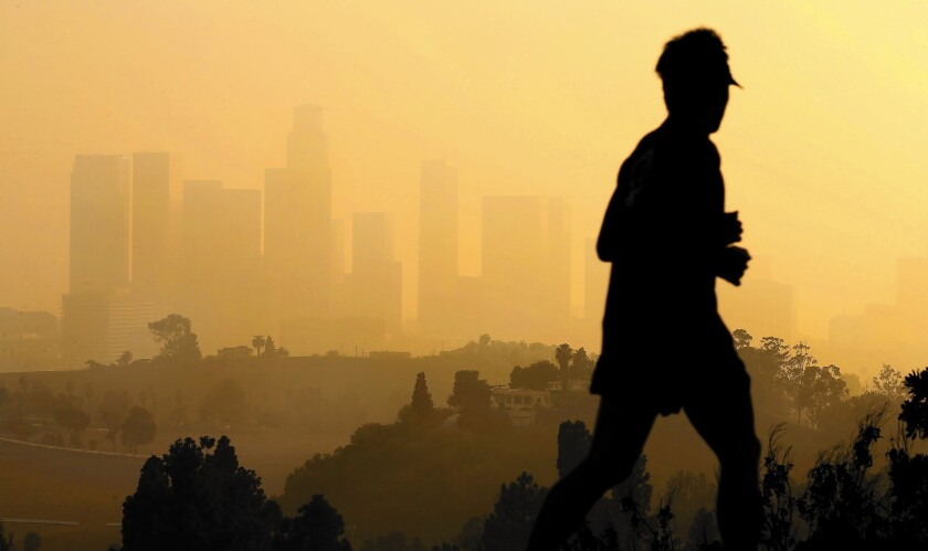 A lawsuit aims to negate the South Coast Air Quality Management District board's vote in December that adopted a proposal by the Western States Petroleum Assn. Above, thick haze hangs over Los Angeles in January.