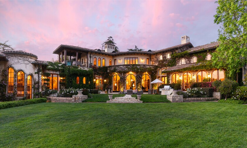A view of a mansion owned by boxing legend Sugar Ray Leonard in Pacific Palisades.