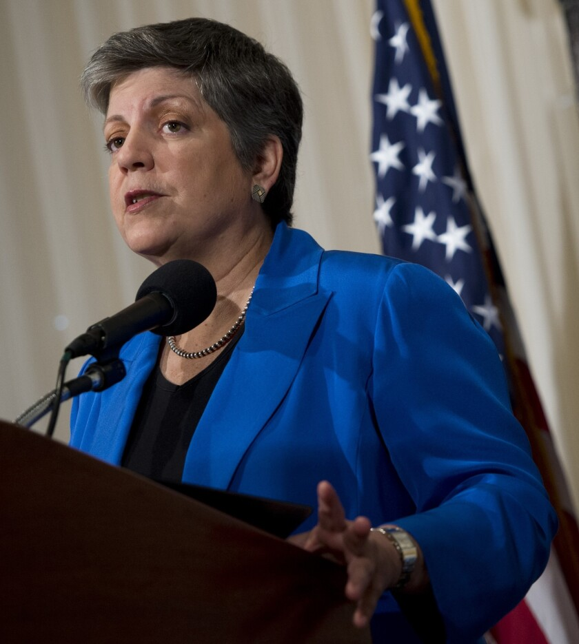 U.S. Secretary of Homeland Security Janet Napolitano gives her farewell speech at the National Press Club in Washington on Aug. 27, 2013. She begins her new job as president of the University of California system on Monday.