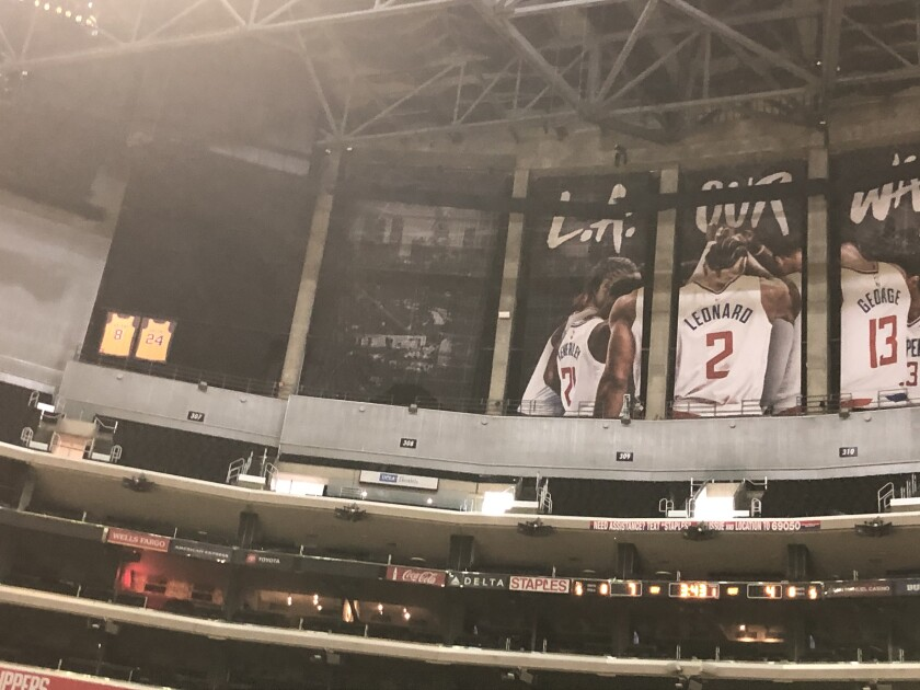 Kobe Bryant's jerseys remain uncovered ahead of a Clippers game against the Kings.