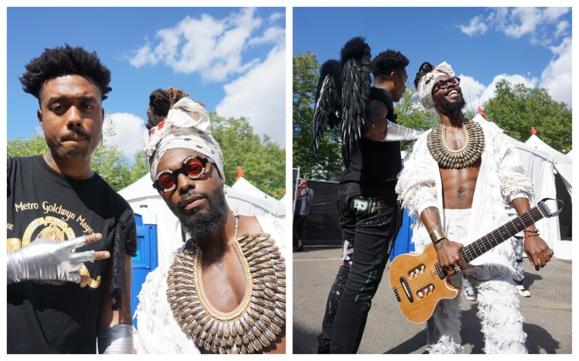 From left, EarthGang duo WowGr8 and Olu, also Dreamville artists, at Afropunk in Brooklyn, N.Y.