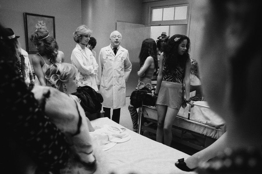 """Norman Lloyd as Dr. Daniel Auschlander, with Christian Pickles, left, and Rae Dawn Chong, in the NBC series """"St. Elswhere."""""""