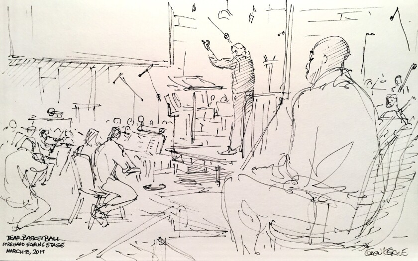 Glen Keane's sketch of John Williams conducting the orchestral score for Kobe Bryant's short film, w