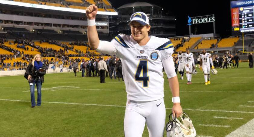 Chargers kicker Michael Badgley celebrates following a 33-30 win over the Pittsburgh Steelers on Dec. 2.