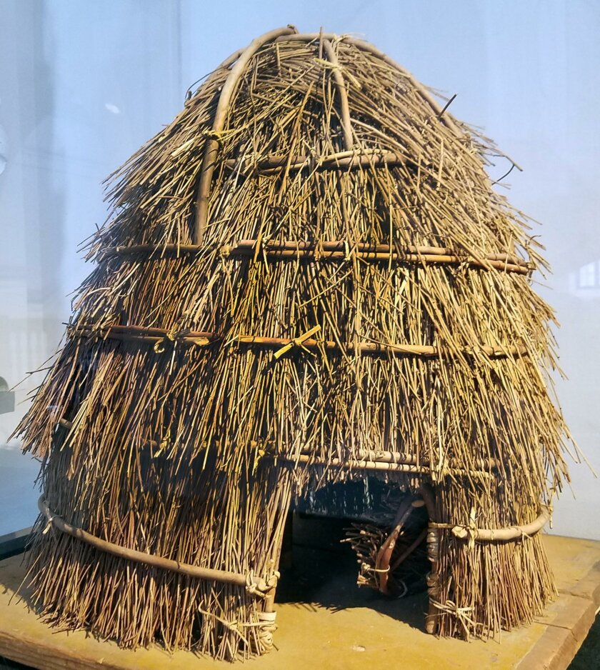 The traditional Kumeyaay house ('ewaa), shown by this model, would have been found in the coastal or foothill environments of La Jolla up until the early 1900s.