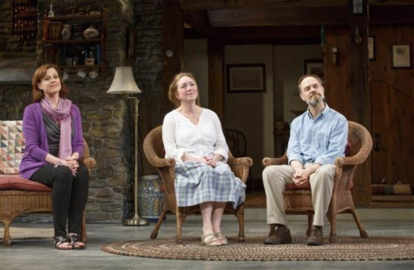"This publicity photo provided by L-R: Sigourney Weaver, Kristine Nielsen, and David Hyde Pierce in ""Vanya and Sonia and Masha and Spike."" All kinds of things are flipped around in the playwright, Christopher Durang's utterly refreshing farce ""Vanya and Sonia and Masha and Spike,"" which has happily"