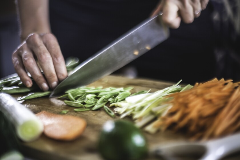 Preparing Julienned Vegetables for Korean Pancakes Close Up